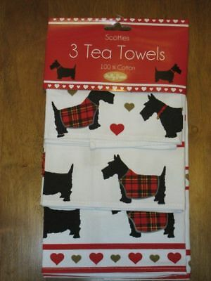 NEW SCOTTISH TERRIER Christmas Kitchen Tea Towels Set of 3 Scottie Scotty Dog