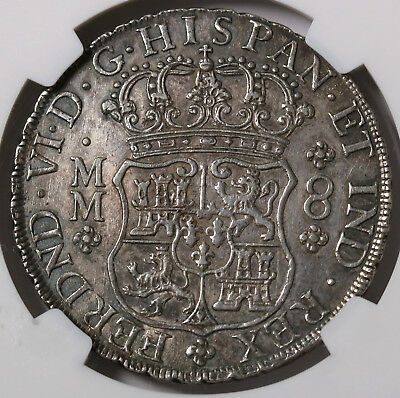 1758 MO Mexico SPANISH COLONY 8 Reales KM# 104.2 Silver Rare Coin NGC AU 55