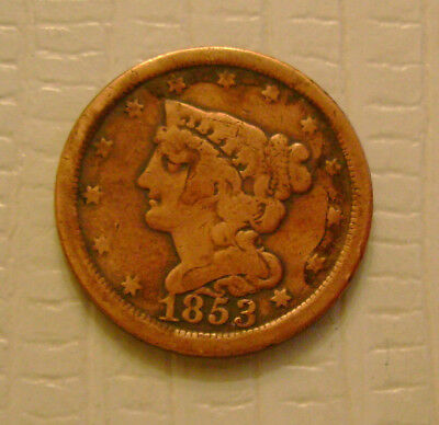 1853 Braided Hair Half Cent old US coin No Reserve