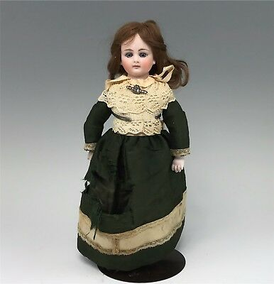 """Antique 11.5"""" Sonneberg German Bisque Doll, Paperweight Eyes, Closed Mouth"""