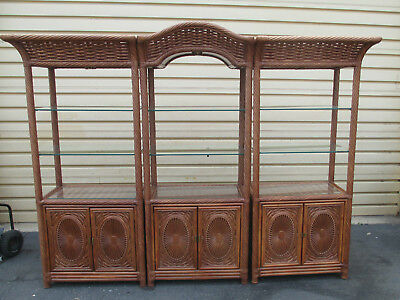 52179  3 section Lighted Rattan Wicker Wall Unit Bookcase w/ shelves Cabinet s