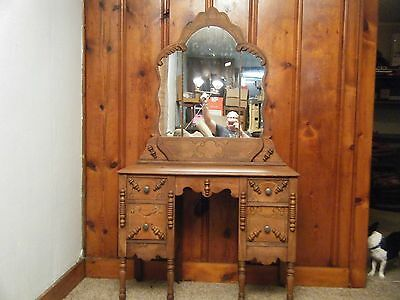 Antique Vintage Oak Vanity With Cut Glass Mirror Hand Carved Designs