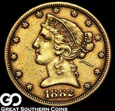 1882 Half Eagle, $5 Gold Liberty ** Free Shipping!