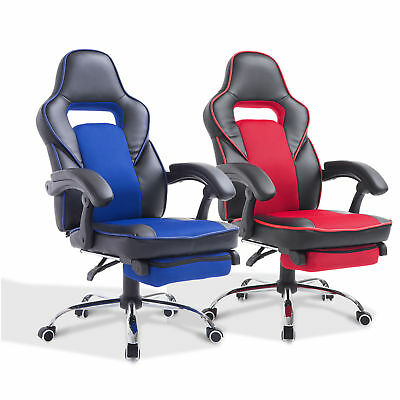 High Back Office Chair Gaming Swivel Race Car Style PU Recliner Seat w/Footrest