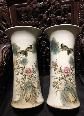 Large A Pair Of Old Chinese Antique Porcelain Vases It Marked Asian China