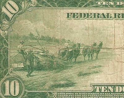 LARGE 1914 $10 DOLLAR BILL FEDERAL RESERVE NOTE BIG PAPER MONEY CURRENCY Fr 939