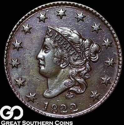 1822 Large Cent, Coronet Head, Solid Choice AU++ Better Date Early Copper!