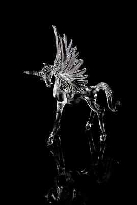 Handcrafted Glass Horse Unicorn Fly Pegasus Figurine Statue Crystal Clear LGBT