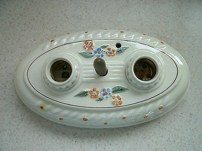 Pair of Antique Victorian Porcelain Ceiling Light Fixtures Early 1900's Floral