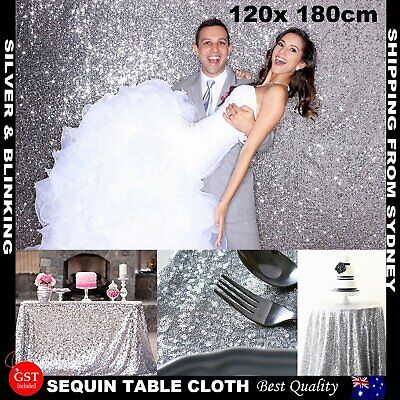 180x120cm Silver Sparkly Sequin Tablecloth Backdrop Wedding Party Table Cloth DI