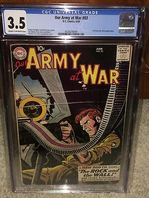 Our Army At War #83 CGC 3.5 DC 1959 1st Sgt. Rock Holy Grail War Book G11 329 cm