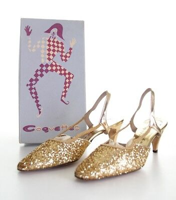 Vintage 60's COQUETTES Gold Glitter Sparkle Women's High Heel Shoes 8M