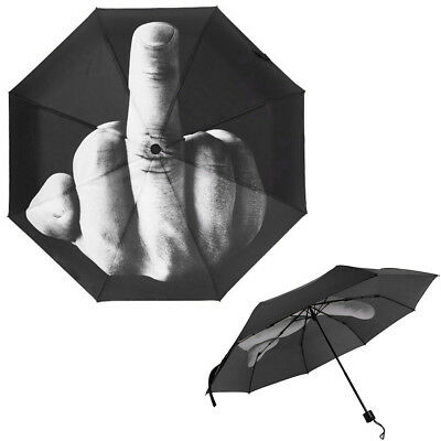 US New Men Umbrella Rain Windproof Folding Parasol Middle Finger Design Umbrella