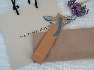 BNWoT Authentic BURBERRY Leather Ochre & Teal Dragonfly Bookmark