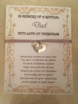 In Loving Memory Memorial Dad Daddy Christmas Xmas Tree Decoration Charm Card