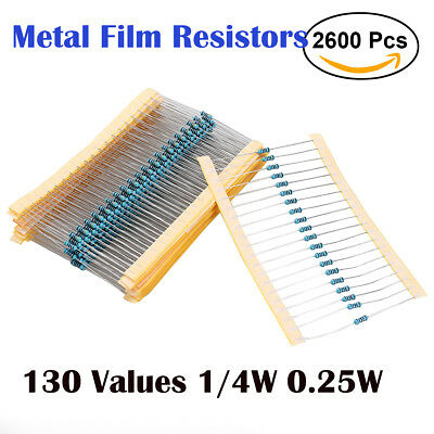 2600pcs Metal Film Resistors 130 Values 1/4W 0.25W 1% Assortment Mix Pack