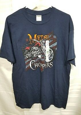 240d2282 ~BRAND NEW~ Boy's Navy Blue Youth Metal Choppers Graphic T Shirt LARGE Tee  NWT