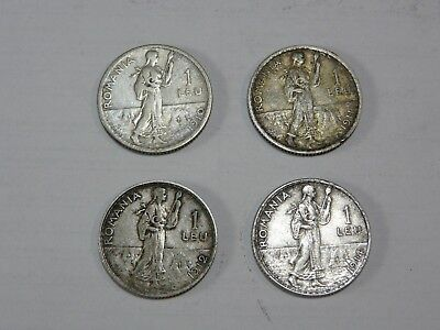 ROMANIA Lot 4 Coins - 1 Leu 1910,1911,1912,1914 - Silver - King Carol I.