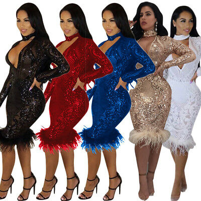 Womens sexy V neck bodycon clubwear sequins slim party cocktail evening dress
