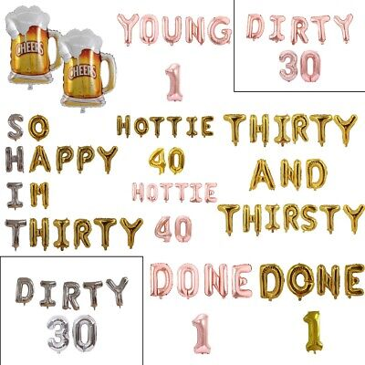 "32/"" Dirty 30 Birthday Foil Balloon Party Decorations ballon Gold Silver 30th UK"