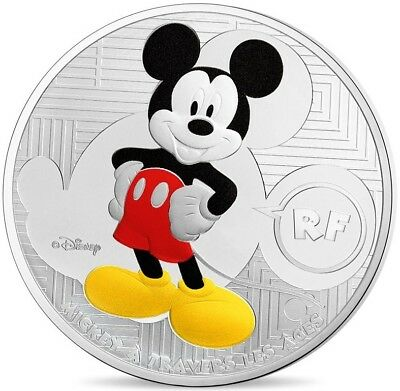 2016 France 10 € Disney Mickey Through The Ages À Travers Les Âges Silver Coin