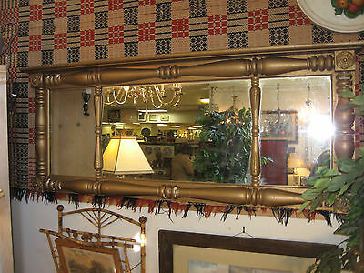"ANTIQUE AMERICAN EMPIRE / FEDERAL 64"" TRI MANTLE MIRROR PARLOR 1800s 3 PANEL"