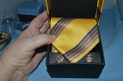Men's A Vincenzo  Dress Tie w/ Matching Cufflinks Set in Box Brown and Gold