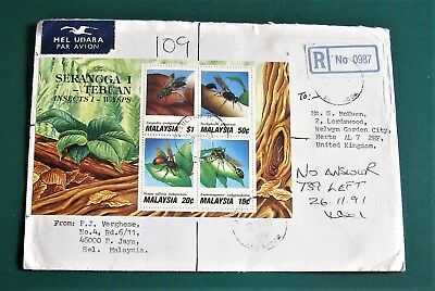 Malaysia 1991 Insects miniature sht on registered airmail cover to UK P Jaya pmk