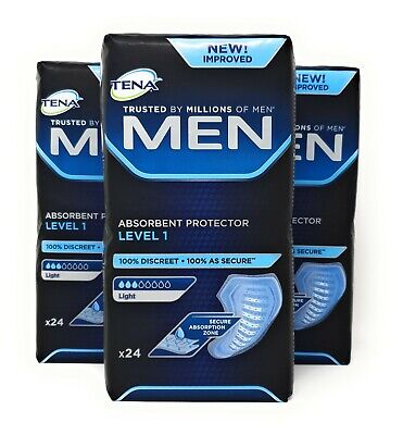 Tena Men Level 1 Absorbent Protector 3 Packs of 24 (72 Total)