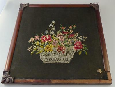 VICTORIAN CROSS STITCH BASKET PICTURE ROSEWOOD FRAME EMBROIDERY c.1870