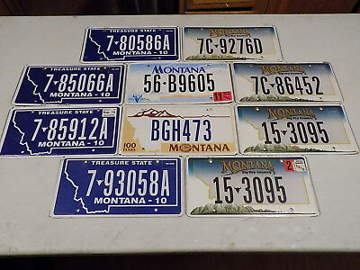 Montana License Plates Lot of 10 Treasure State Big Sky Country ~FastFreeShip~