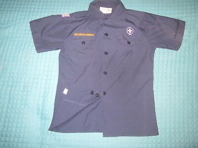 BSA CubScout Uniform Shirt Youth MED SS 67%Cotton Repair on Front Left Pocket