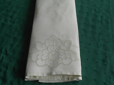 Antique Towel With Mosaic Hand Embroidery, Off White Linen Fabric, Vintage 1920