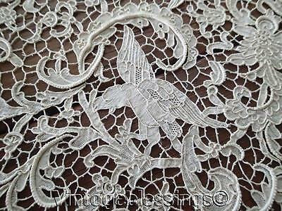 Museum Quality Antique Italian OPERA Needle Lace Figural Tablecloth A Must See!