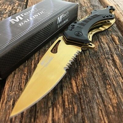 """8"""" M-TECH GOLD Tactical Rescue SPRING ASSISTED OPEN Folding Pocket Knife"""