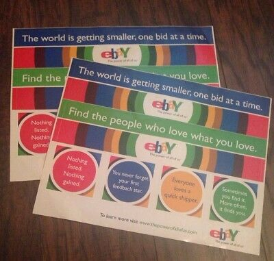 """Lot of 2 vintage sheets of Ebay stickers 8.5"""" x 11"""" ebayana collectible rare"""