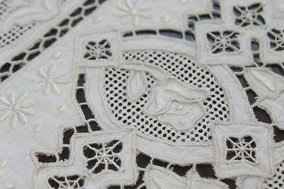 Vintage Antique Handmade Embroidered Needlelace Lace Placemats Ecru / Taupe
