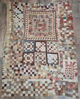 """EARLY Antique Medallion QUILT TOP 19th Century 75"""" x 54 1/2"""""""