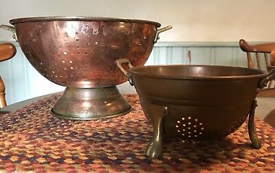Antique Vintage Pedestal Copper Colander Strainer Set ~Brass Handles