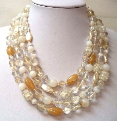 """Stunning Vintage Estate Glass Faux Pearl Beaded Ab 18"""" Necklace!!!! 7985N"""