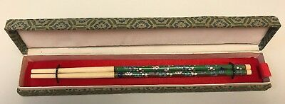 Vintage 1950's CLOISONNE & Brass Chinese Asian Carved CHOPSTICKS w/ Box