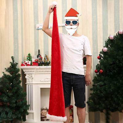 Long Santa Hat Red White Mens Womens Costume Adult Party Funny LJ