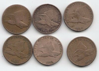 Lot of six (6) Flying Eagle one cent coins  See Listing for dates