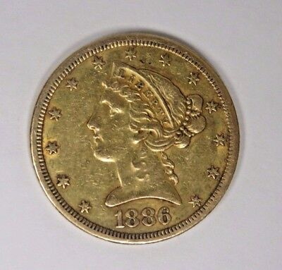 1886-S United States $5 Gold Liberty Head Half Eagle Coin