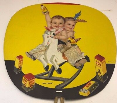 "Vintage Advertising FAN ""666 Twins""  666 Remedies Laxative Liquid  Salve & more!"