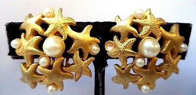 "Stunning Vintage Estate Signed Talbots Starfish Clip 1 1/8"" Earrings!! 7985Q"