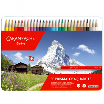 Caran D'Ache Prismalo Water Soluble Colour Pencils 30 Metal Tin Set Aquarelle