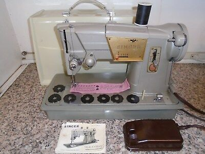 Vintage Singer 328 All Metal Heavy Duty Portable Sewing Machine w/ Case Sews GR8
