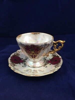 Antique Royal Sealy red & gold gilt teacup and saucer