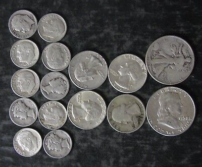 "Lot: $3.00 Face Value US 90% Silver Coins, ""Junk Silver"", pre-1965 - No Reserve"